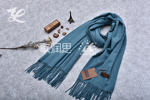 300 grams of flowers(Denim blue long simple warm scarf)