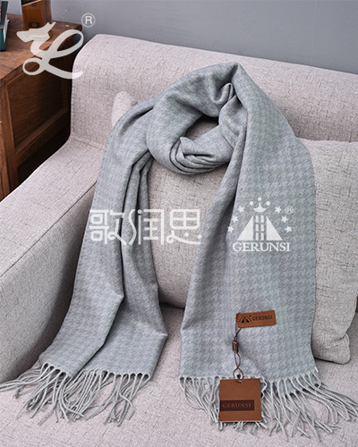 Jacquard towel scarf(Blue gray warm trendy scarf)